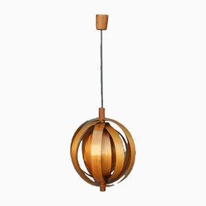Swedish Wood Lamellae Moon Lamp, 1960s