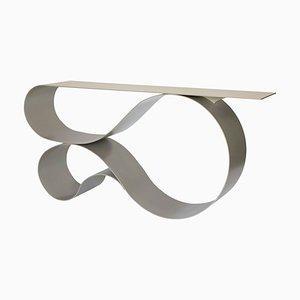 Consolle Whorl in alluminio verniciato a polvere beige di Neal Aronowitz