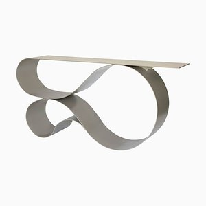 Whorl Console in Beige Powder Coated Aluminum by Neal Aronowitz