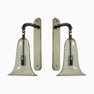 Wandlampen aus Glas in Glockenform, 1920er, 2er Set