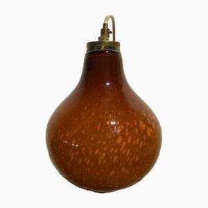 Lampe à Suspension Vintage Caramel en Verre Soufflé Doré, Italie