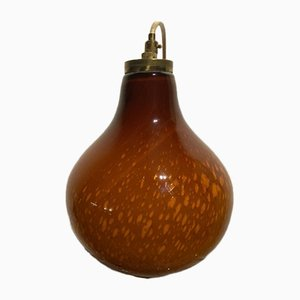Vintage Italian Caramel Gold Blown Glass Hanging Lamp