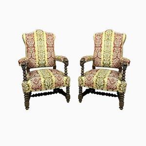 Large Renaissance Solid Oak Lounge Chairs, 19th Century, Set of 2
