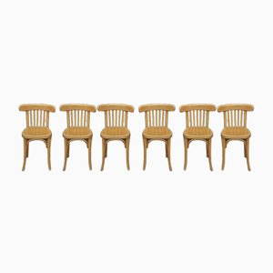 Curved Beech Bistro Dining Chairs, 1950s, Set of 6