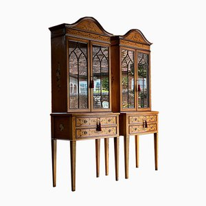 Sheraton Revival Style Satinwood Display Cabinets, 1998, Set of 2