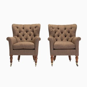 19th Century English Button Back Armchairs, Set of 2