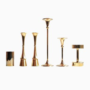 Mid-Century Danish Brass Candleholders, Set of 6