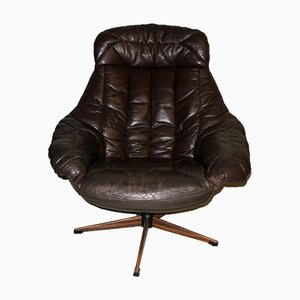 Mid-Century Dark Brown Leather & Rosewood Swivel Lounge Chair by H. W. Klein for Bramin, 1960s