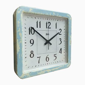 Vintage Light Blue Factory Wall Clock, 1950s