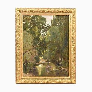 Pintura de paisaje antigua con río y niños
