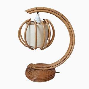 Lampe de Bureau en Rotin, France, 1950s