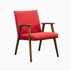 Red Solid Beech Armchair, 1950s