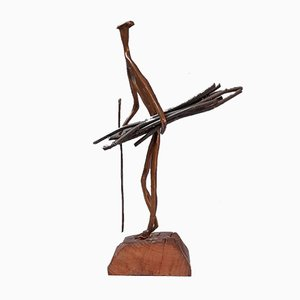 Mid-Century Bronze Wood Gatherer Sculpture
