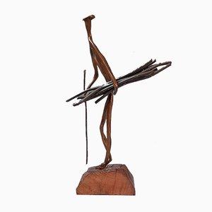 Sculpture de Rassembleur Mid-Century en Bois Bronze