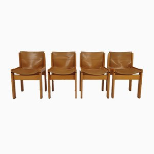 Italian Leather Dining Chairs from Ibisco, 1970s, Set of 4