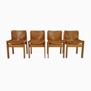 Italienische Leder Esszimmerstühle von Ibisco, 1970er, 4er Set