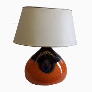 Vintage Orange & Brown Ceramic Table Lamp with Oval Beige Fabric Shade by Bjørn Wiinblad for Rosenthal, 1960s