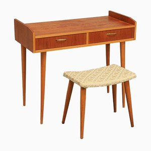 Mid-Century Scandinavian Teak Dressing Table with Mirror & Stool, 1970s