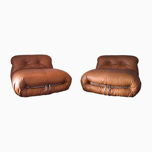 Cognac Leather Soriana Lounge Chairs by Tobia & Afra Scarpa for Cassina, 1969, Set of 2