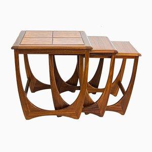 Mesas nido de teca de G Plan, años 60. Juego de 3