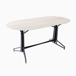 Italian Iron & Wood Dining Table with Marble Top, 1950s