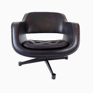 Black Leather Lounge Chair by Olli Mannermaa for Asko Oy, 1970s