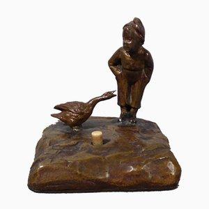 Antique Austrian Bronze Table Bell from Wiener Bronze