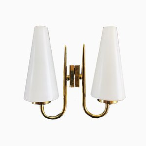 Mid-Century Brass & Opaline Sconces, Set of 2