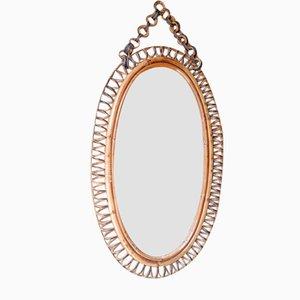 Specchio ovale in vimini intrecciati, anni '60