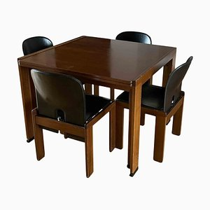 Chaises de Salon Modèle 121 en Noyer et Cuir Noir & Table de Salle à Manger Extensible Modèle 778 par Tobia & Afra Scarpa pour Cassina, 1968, Set de 5