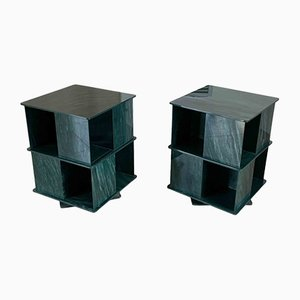 Italian Rotating Green Marble & Plexiglass Nightstands, 1970s, Set of 2