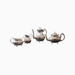 Englischer Versilberter Antik Teeservice, 1900er, 4er Set