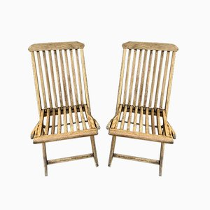 Cunard Line Teak Slat Back Deck Folding Chair from Scan Com, 1960s, Set of 2