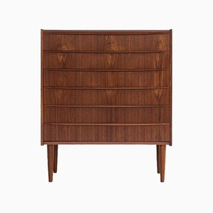 Mid-Century Danish Chest of 6 Drawers in Teak with Long Drawer Handle