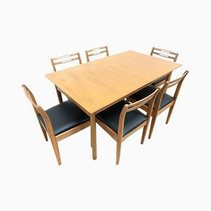 Mid-Century Vintage Teak Dining Table & 6 Dining Chairs from Morris of Glasgow