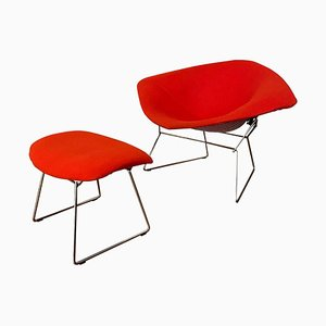 Chromed and Red Large Diamond Chair and Ottoman by Harry Bertoia for Knoll, Set of 2