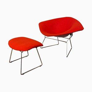 Roter und verchromter Diamond Chair mit Ottomane von Harry Bertoia für Knoll, 2er Set