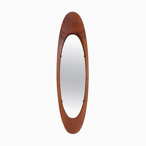 Oval Mirror with Teak Frame by Campo E Graffi, Italy