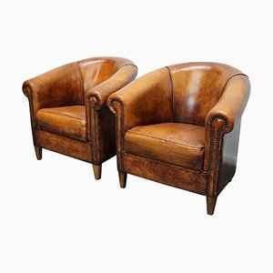Vintage Dutch Cognac Colored Leather Club Chairs, Set of 2