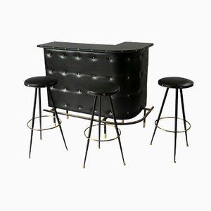 Skai and Brass Cocktail Bar Set, 1950s