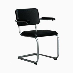 Thonet S64 PV Freischwinger Bauhaus Stuhl aus Schwarzem Leder