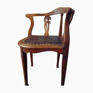 Antiker Stuhl aus Leder & Holz