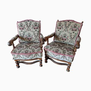 Vintage Armchairs and Sofa with Floral Pattern, Set of 3