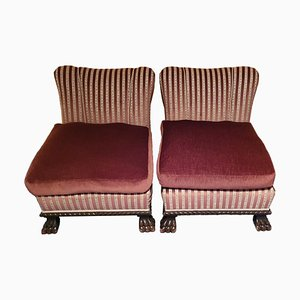 Antique Armchairs with Striped Pattern, Set of 2