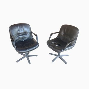 Black Leather Office Chairs, Set of 2