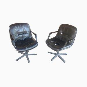 Chaises de Bureau en Cuir Noir, Set de 2