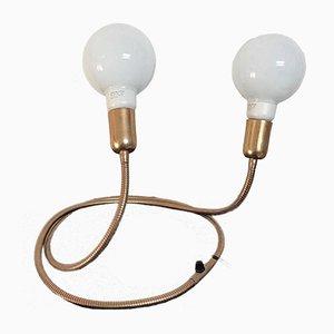 Lampada a forma di serpente in ottone dorato con due lampadine
