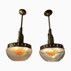 Lampes à Suspension en Verre Murano de Mazzega, 1960s, Set de 2