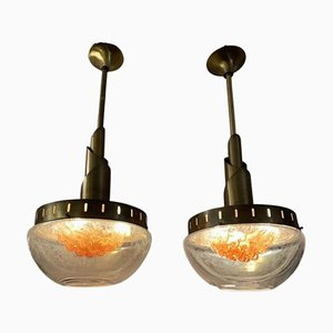 Murano Glass Hanging Lights from Mazzega, 1960s, Set of 2