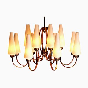 Large Brass Chandelier from Stilnovo with Large White Murano Vases, Italy, 1950s